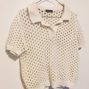 American Apparel Cream White Crop Knit Polo Shirt
